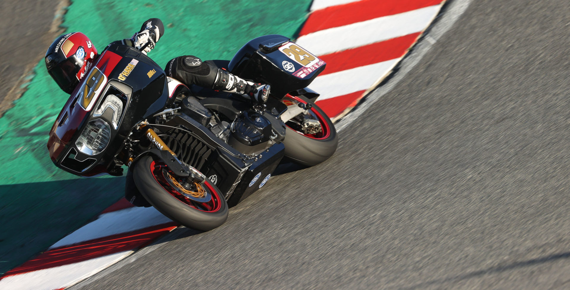 Tyler O'Hara (29) on his S&S Indian Challenger at Laguna Seca. Photo by Brian J. Nelson.