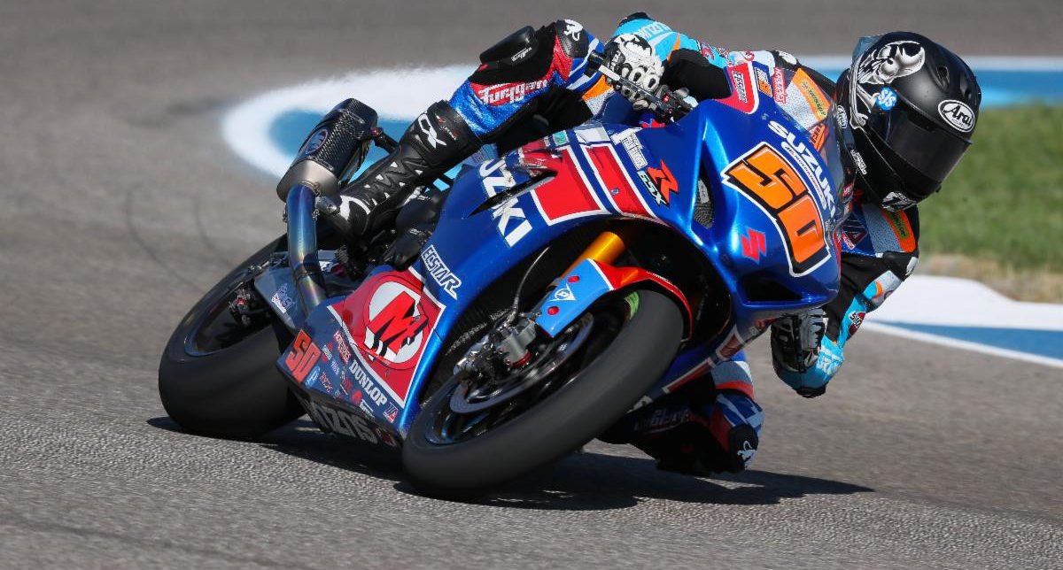 Bobby Fong (50) earned two strong Superbike victories on his GSX-R1000. Photo by Brian J Nelson.