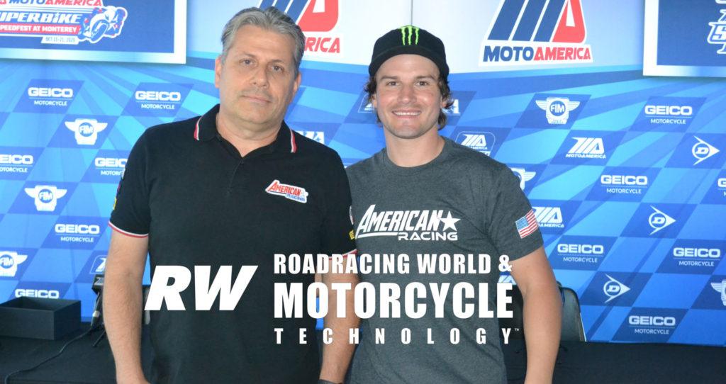 American Racing Team owner Eitan Butbul (left) and Cameron Beaubier (right) at WeatherTech Raceway Laguna Seca. Photo by David Swarts.