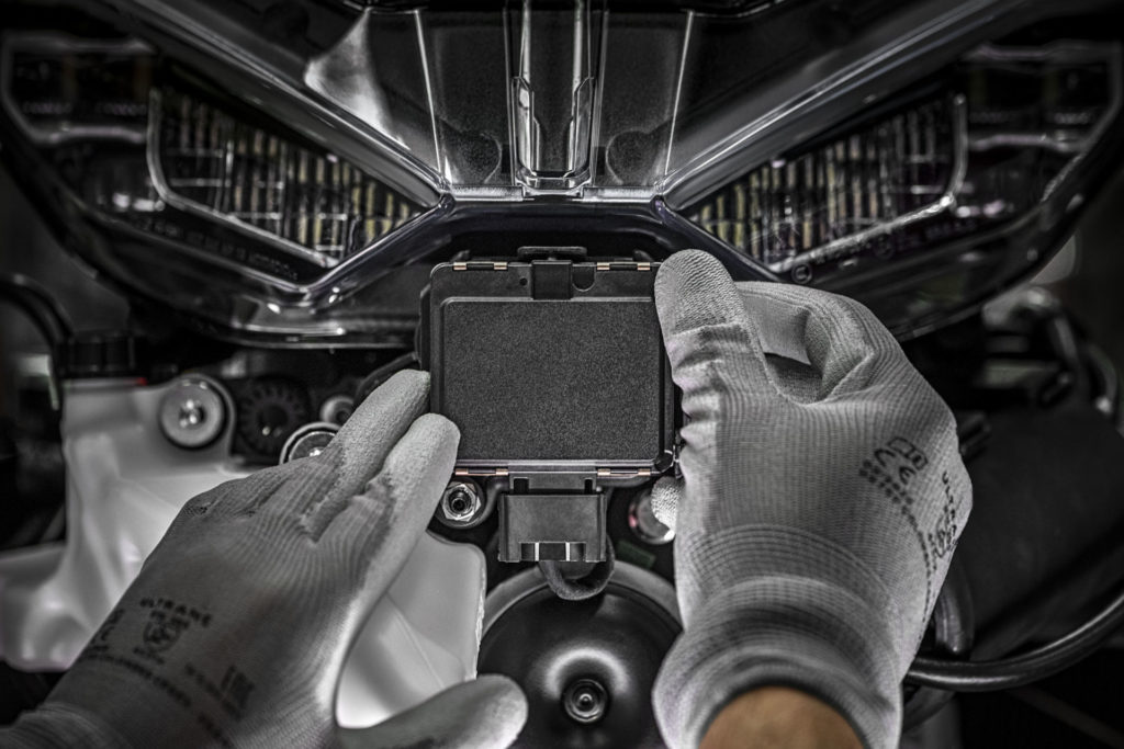 A front radar unit being installed on a Ducati Multistrada V4. Photo courtesy Ducati.