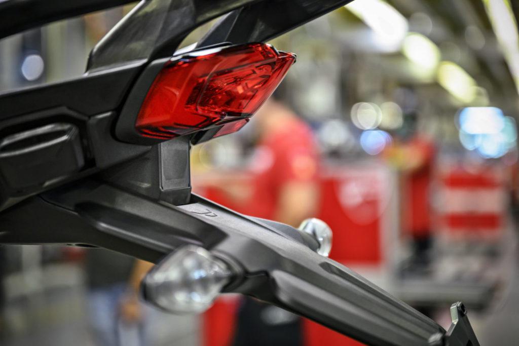 The rear radar unit located just below the taillight on a Ducati Multistrada V4. Photo courtesy Ducati.