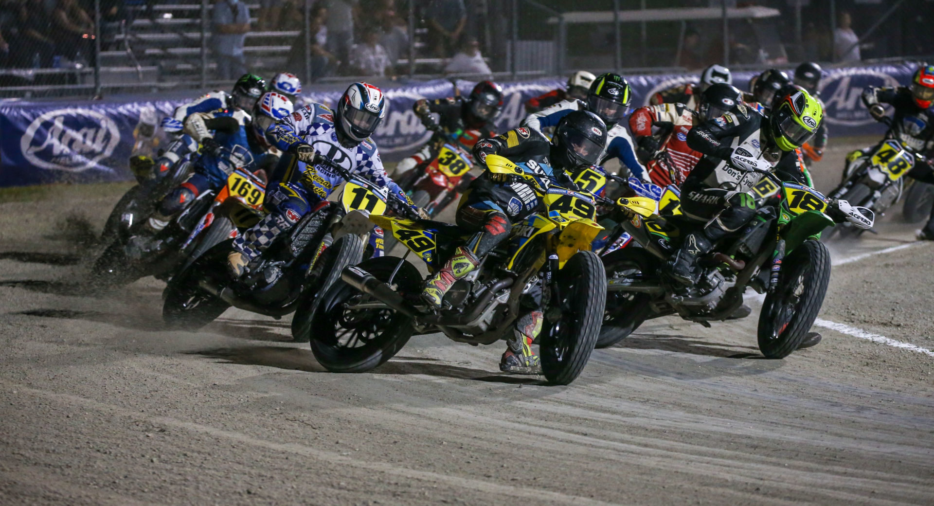 Chad Cose (49) leads the start of the AFT Singles Main Event at Daytona Short Track I. Photo by Scott Hunter, courtesy AFT.