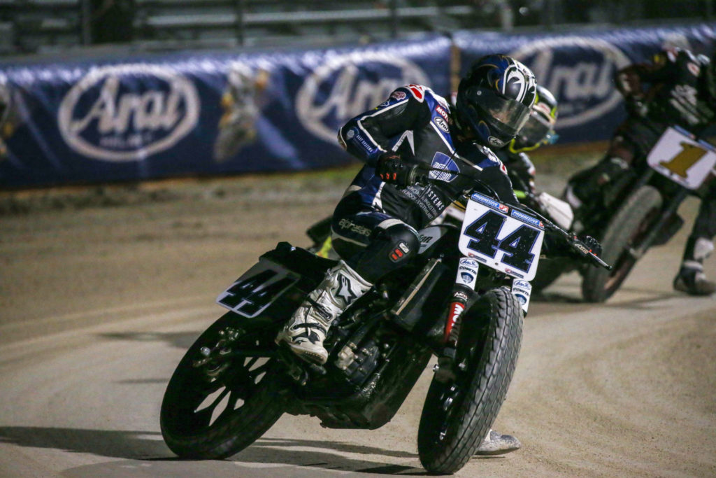 Brandon Robinson (44) won the AFT SuperTwins race for a second night in a row. Photo by Scott Hunter, courtesy AFT.