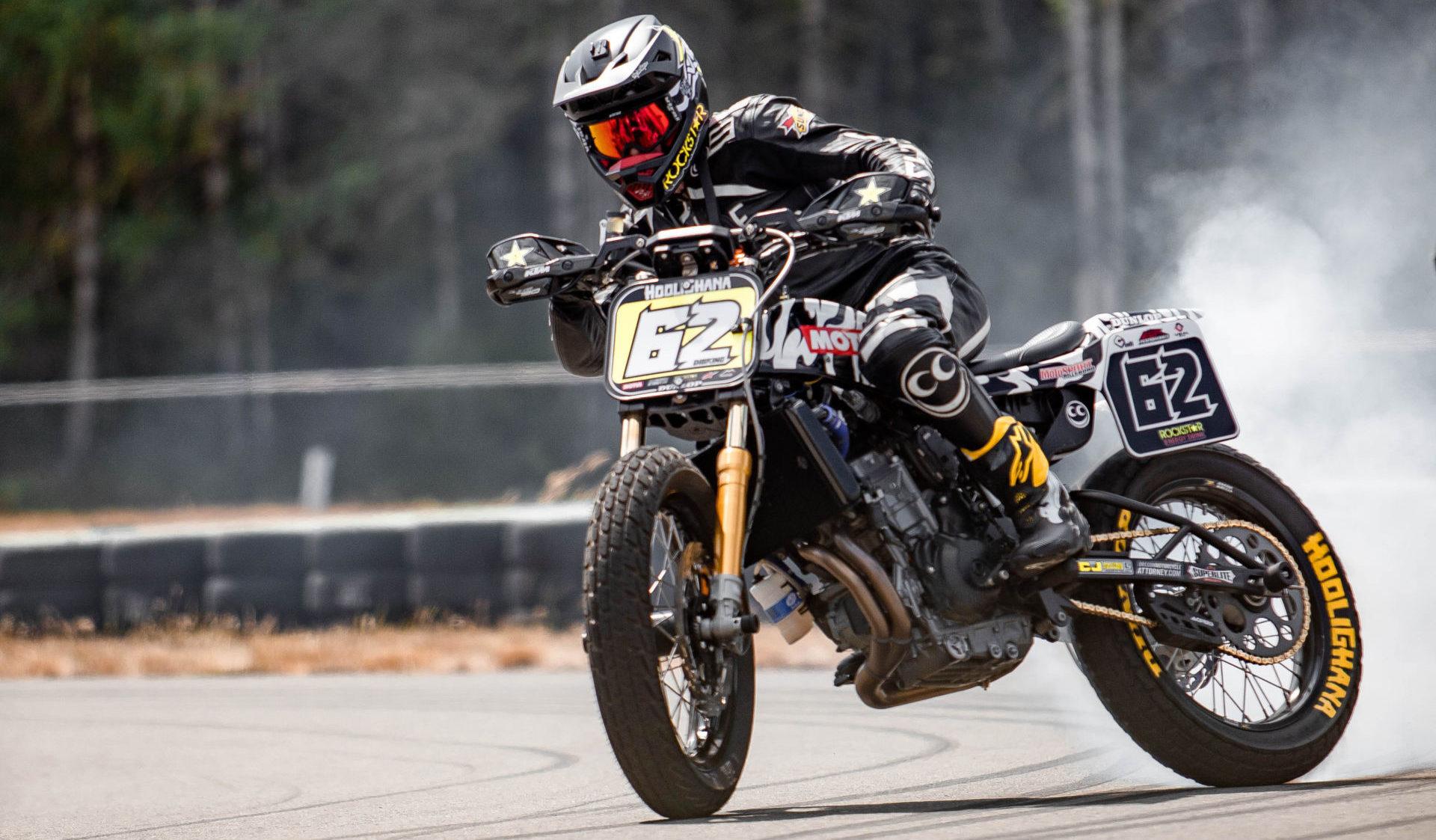 Pro road racer and dirt tracker Andy DiBrino drifts a KTM 790 Duke at Ridge Motorsports Park. Photo courtesy Andy DiBrino.