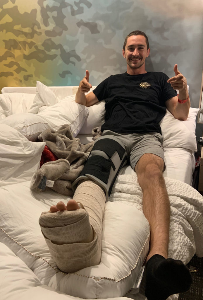 Mathew Scholtz post-surgery. Photo courtesy Mathew Scholtz and Westby Racing.