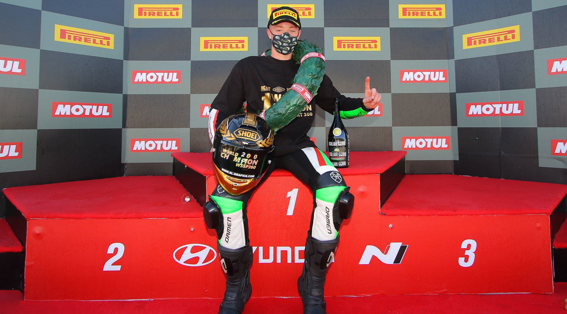 Jeffrey Buis, the 2020 FIM Supersport 300 World Champion. Photo courtesy Dorna.