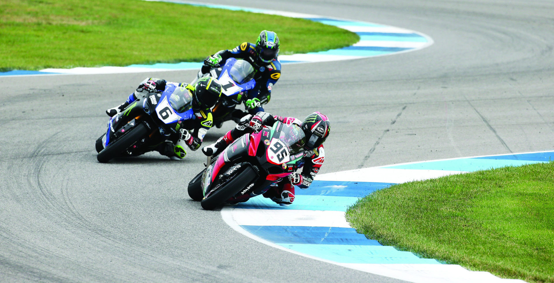 Roger Hayden (95) leads Cameron Beaubier (6) and Josh Hayes (1) in MotoAmerica Superbike Race Two at Indianapolis Motor Speedway in 2015. Photo by Brian J. Nelson.