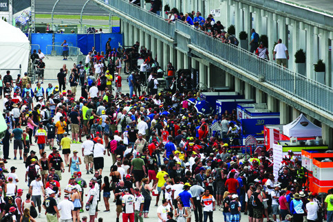 The 2015 MotoGP/MotoAmerica event at Indianapolis Motor Speedway drew the largest crowd since the inaugural MotoGP event at IMS in 2009. This is a shot of the MotoGP paddock, which has limited access. Photo by Brian J. Nelson.