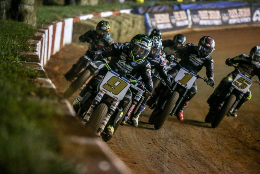 Jared Mees (9) leads the field at the Atlanta Short Track at Dixie Speedway. Photo courtesy AFT.