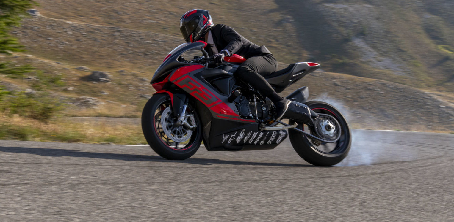 """MV Agusta's French stunt rider Thibaut Nogues as seen in """"Pursuit of Happiness - Mr. Nogues II."""" Photo courtesy MV Agusta."""