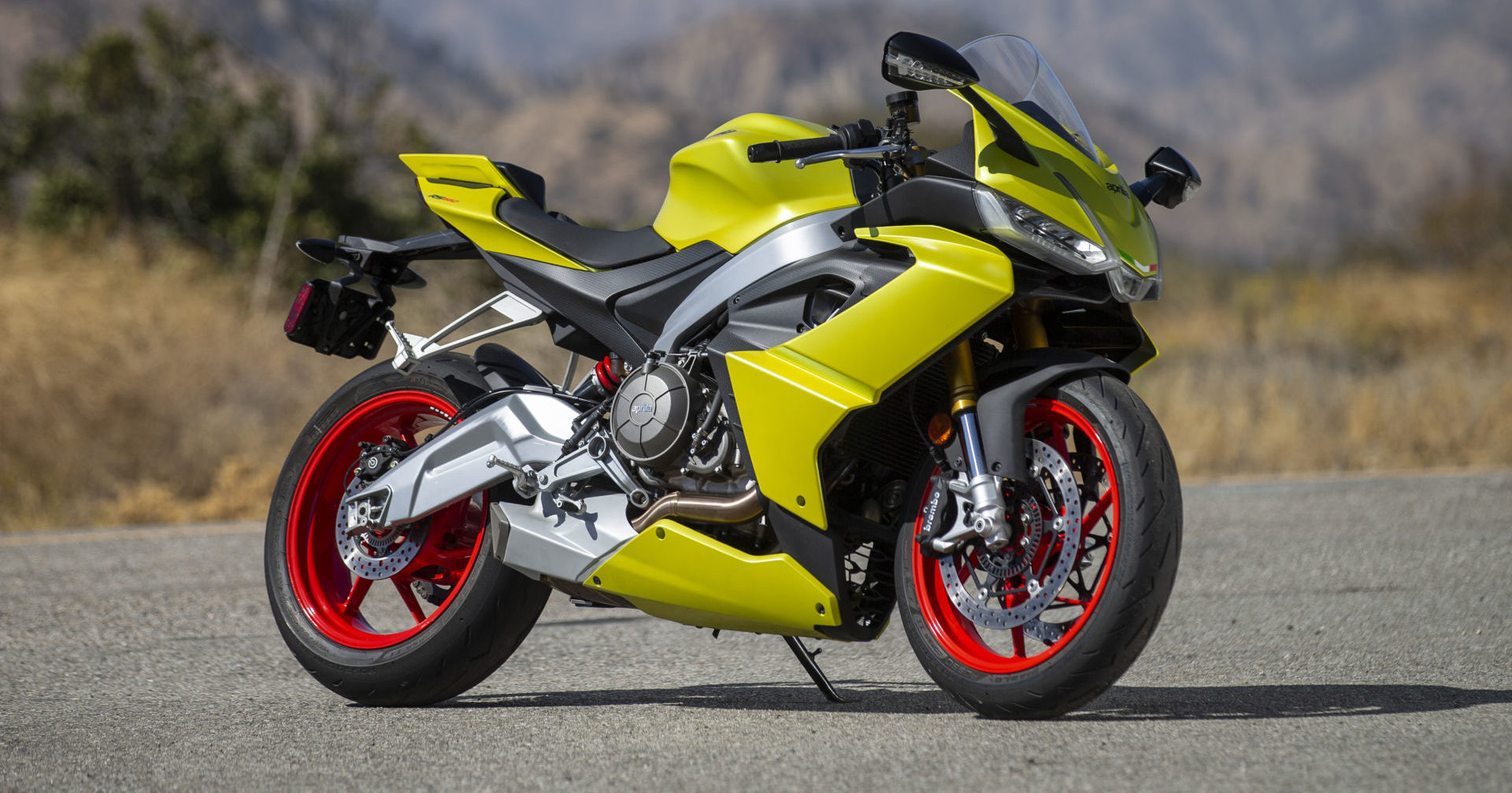 The Aprilia RS 660 is narrow and compact, while also offering a roomy riding position and all-day comfort. The middleweight twin offers a class-shattering array of technology and features. Photo by Kevin Wing, courtesy of Aprilia.