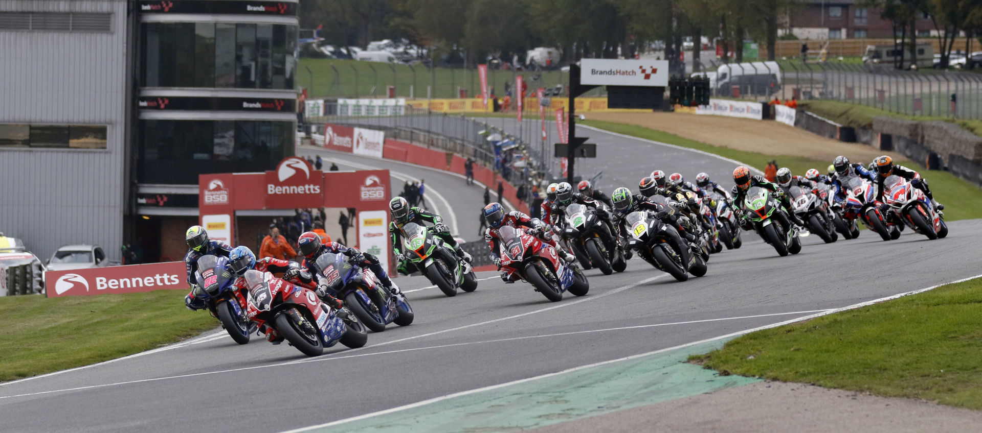 The start of a British Superbike race Sunday at Brands Hatch. Photo courtesy MSVR.