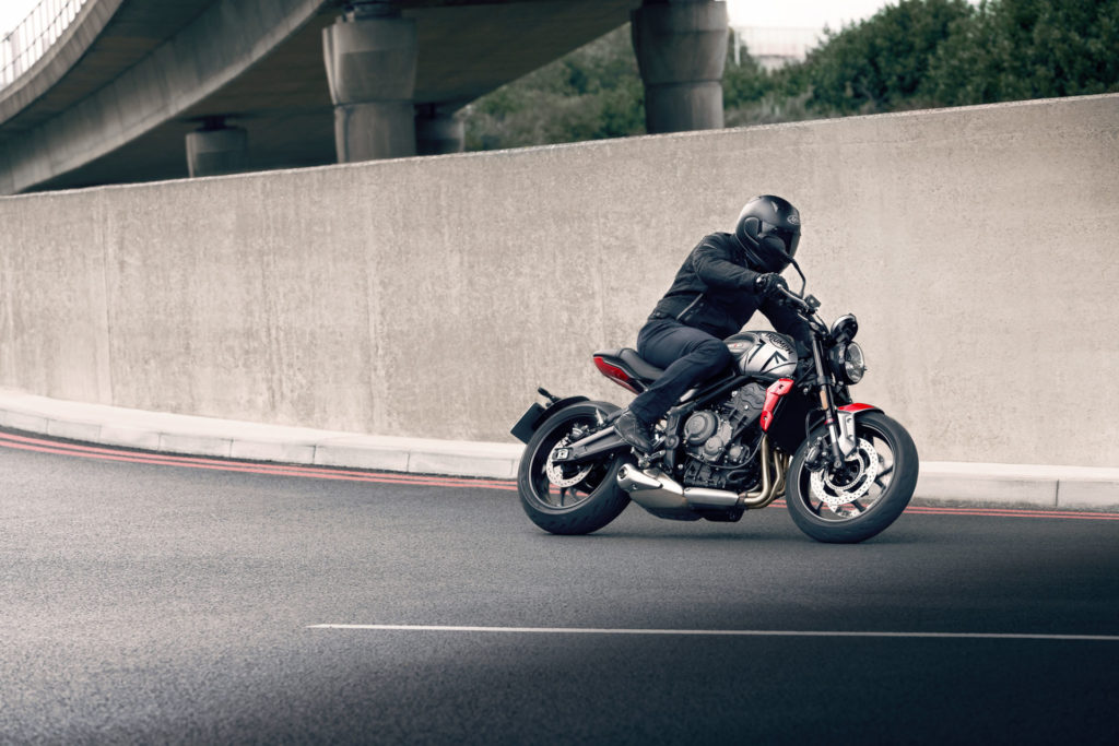 A Triumph Trident 660 at speed. Photo courtesy Triumph.