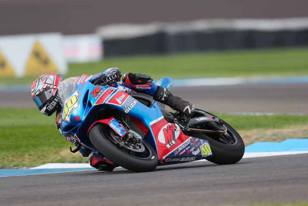 Sean Dylan Kelley (40) took pole position and had solid results on his GSX-R600. Photo by Brian J. Nelson, courtesy SMAI.