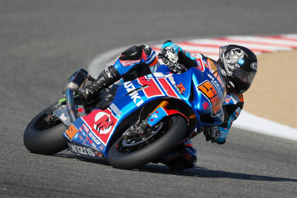 Bobby Fong (50) finished in 3rd place in the MotoAmerica Superbike Championship. Photo by Brian J. Nelson, courtesy Suzuki Motor of America, Inc.