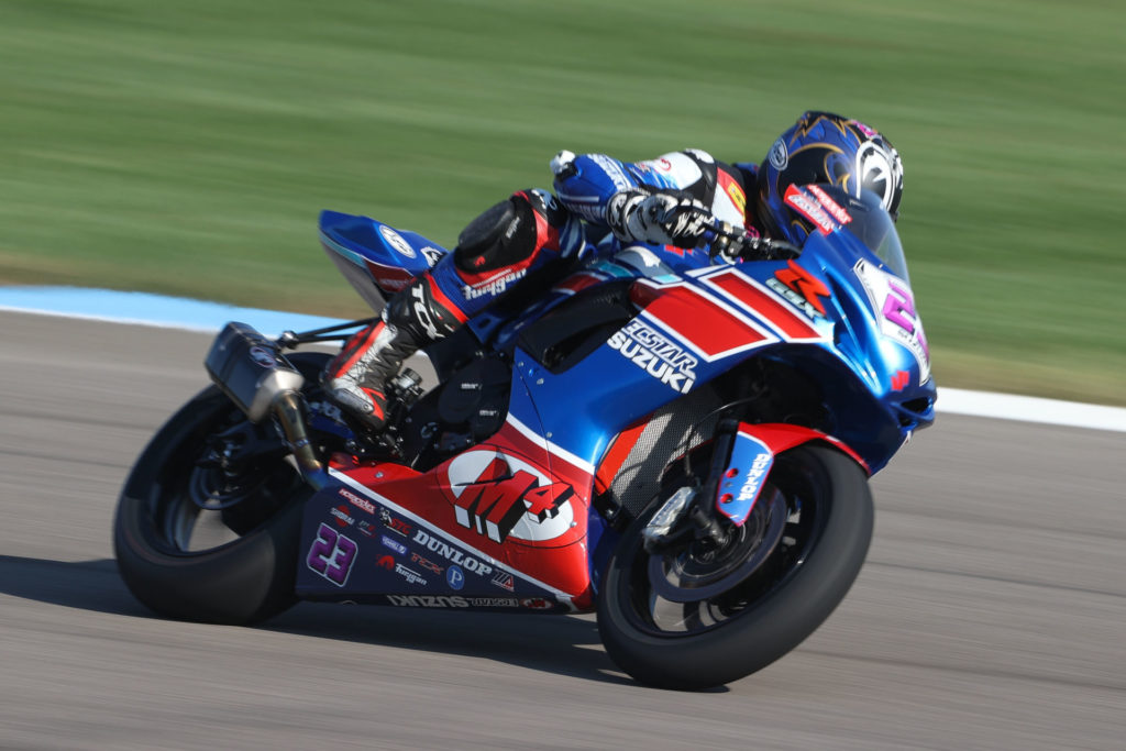 Lucas Silva (23) continued his streak of top-ten finishes on his GSX-R600 at Indy. Photo by Brian J. Nelson, courtesy SMAI.