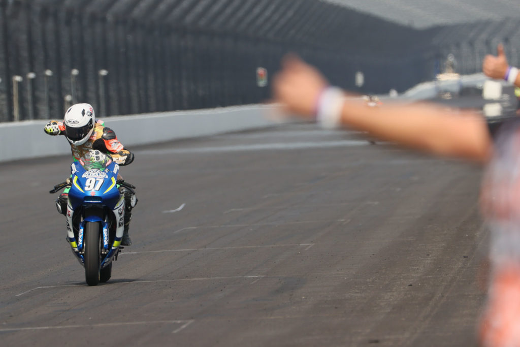 Rocco Landers (97) secured the 2020 MotoAmerica Twins Cup Championship on his SV650. Photo by Brian J. Nelson, courtesy SMAI.
