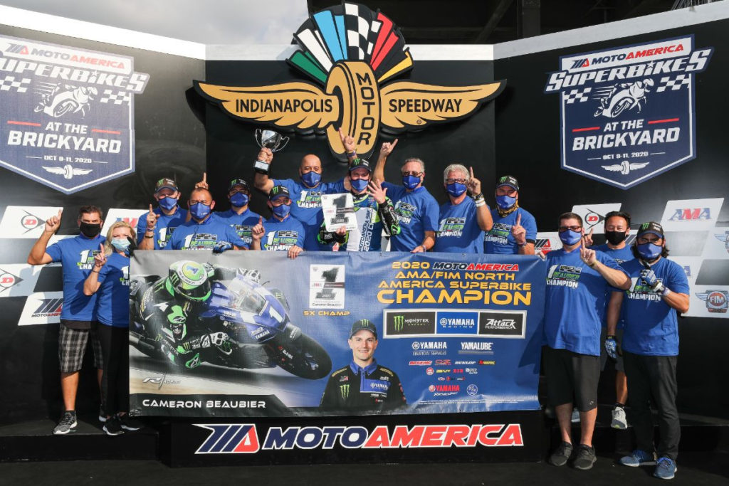 Cameron Beaubier and his Monster Energy Attack Performance Yamaha team, friends, and family. Photo by Brian J. Nelson, courtesy Yamaha.
