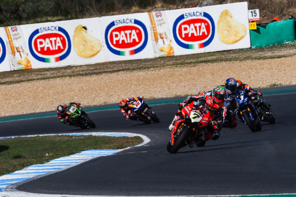 Chaz Davies (7) leading World Superbike Race Two at Estoril. Photo courtesy Dorna.
