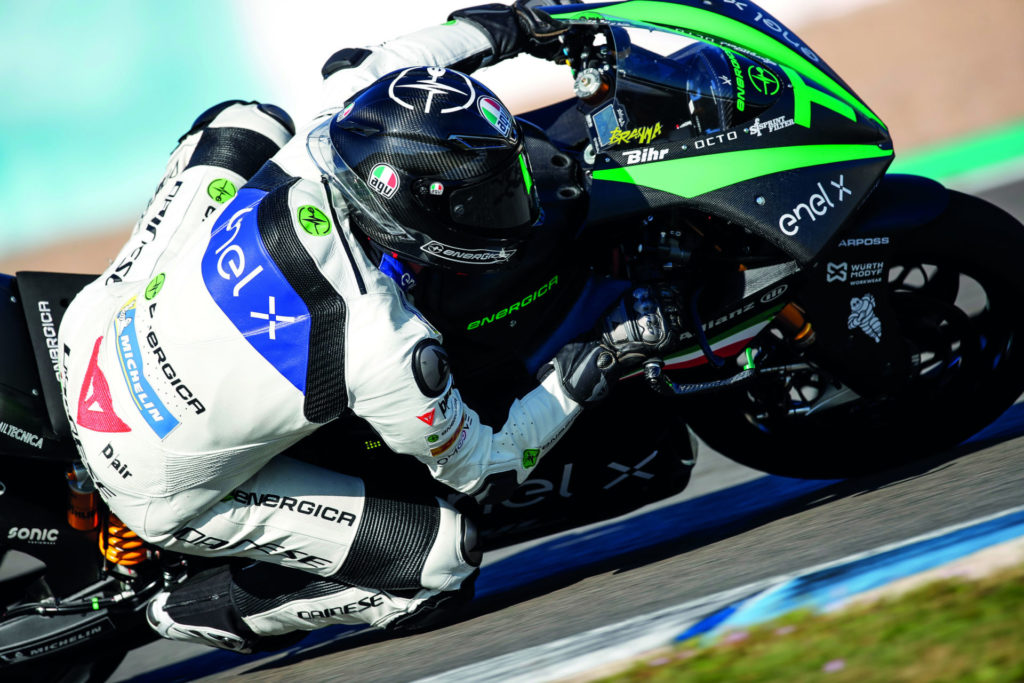 An Energica test rider on an Energica Ego Corsa electric racebike. Photo courtesy Energica.