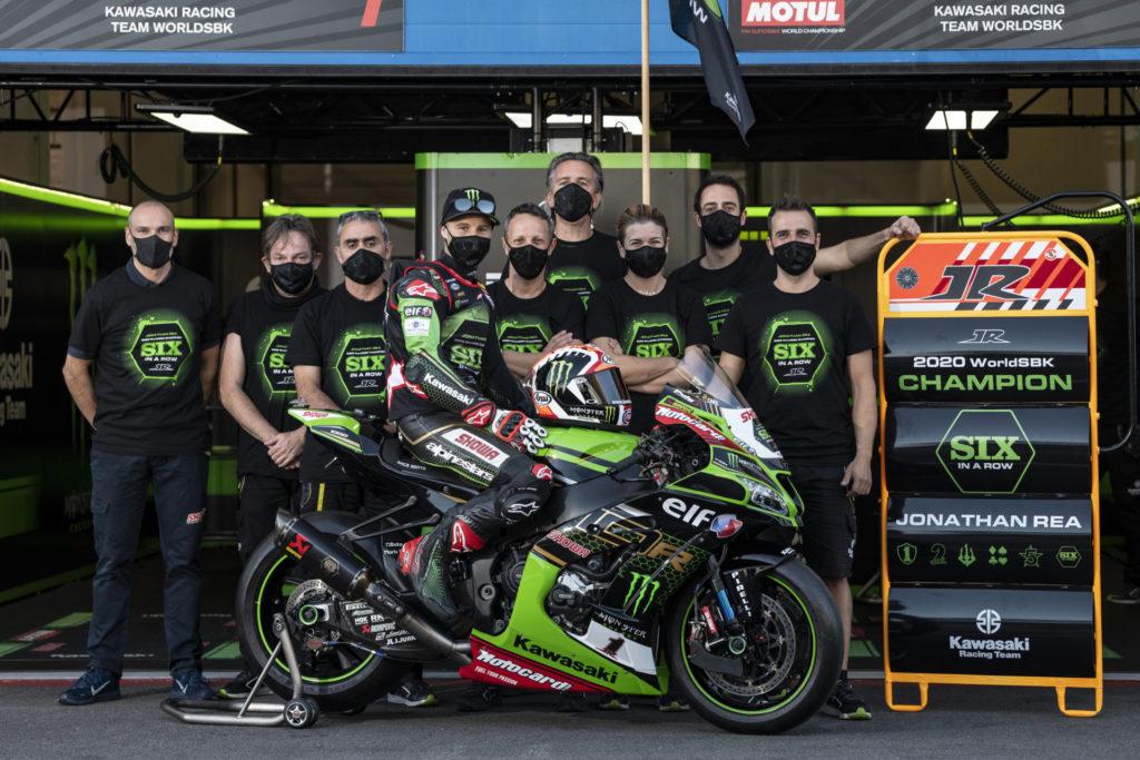 Six-time Superbike World Champion Jonathan Rea and his team. Photo courtesy Kawasaki.