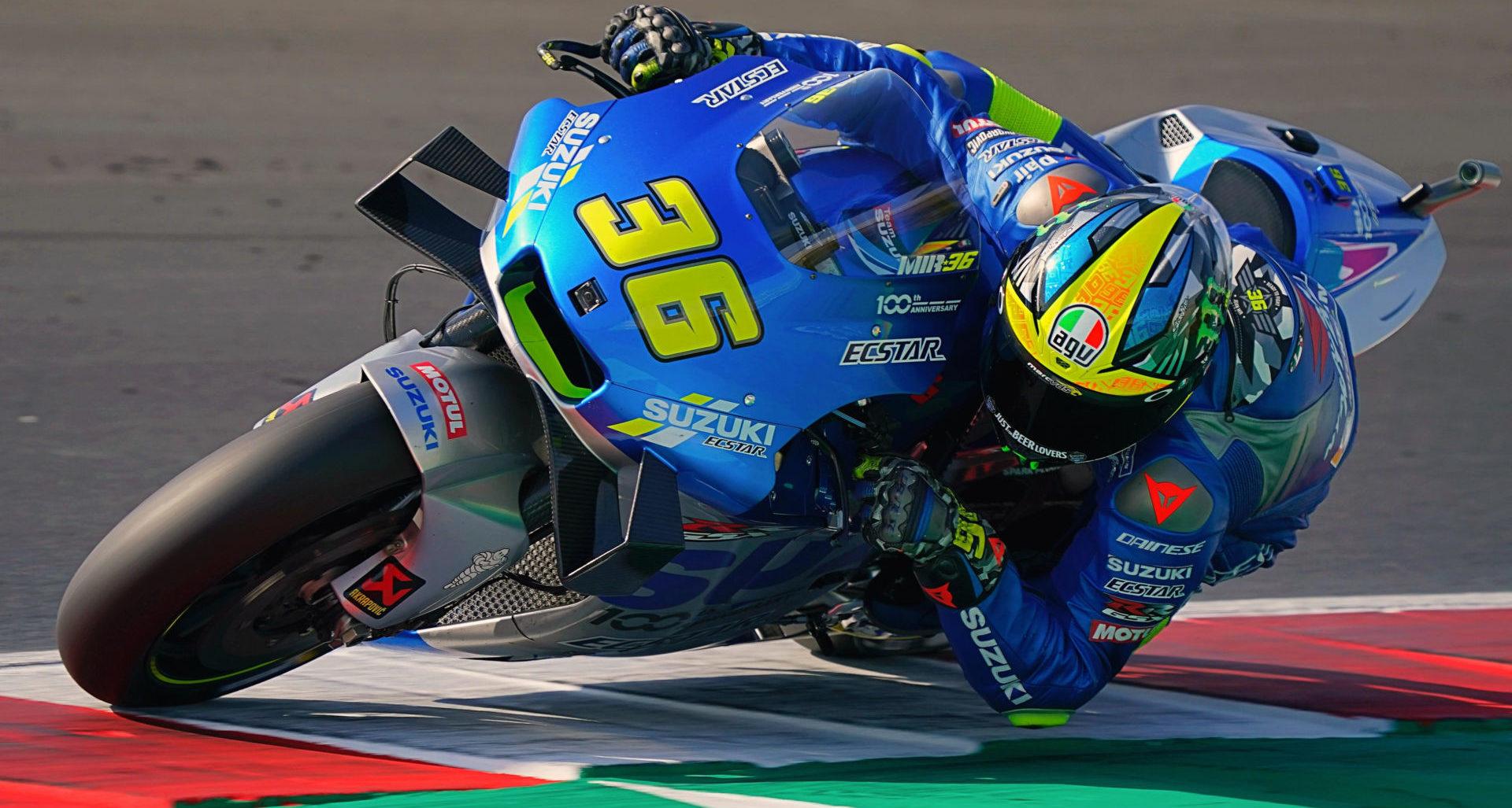 Joan Mir (36) leads the 2020 MotoGP World Championship in spite of not having won a race this season. Photo courtesy Team Suzuki Press Office.