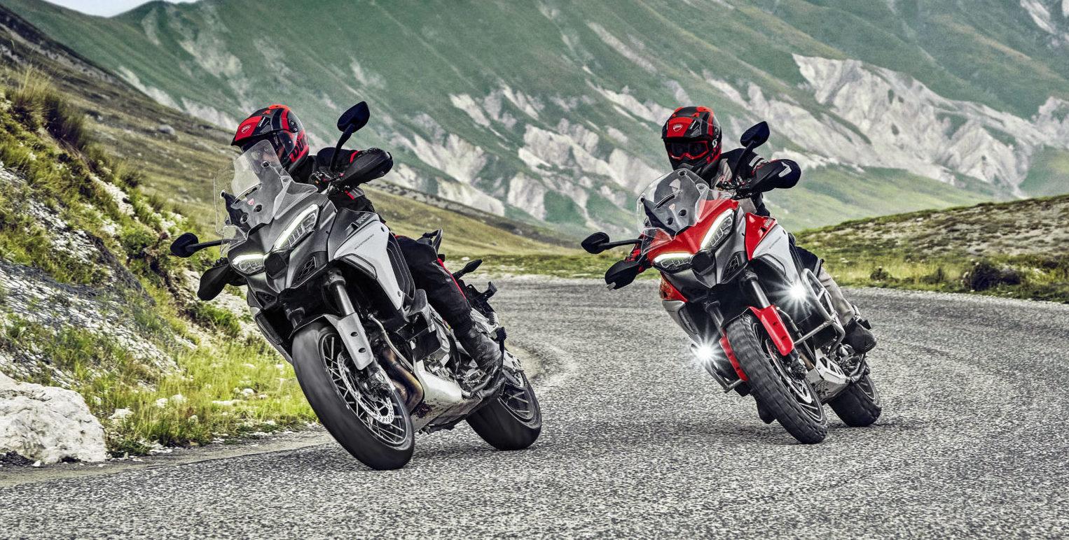 Two 2021-model Ducati Multistrada V4s at speed. Photo courtesy Ducati.