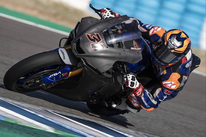 Garrett Gerloff (31) testing his new 2020-model Yamaha YZF-R1 Superbike Tuesday at Jerez. Photo courtesy GRT Yamaha WorldSBK Junior Team.