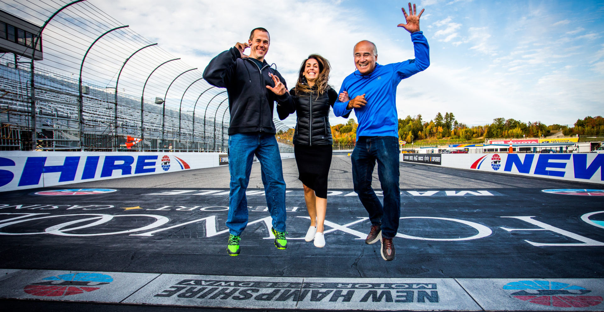 Eric Wood (left) and John Grush (right), the new owners of the Loudon Road Race Series (LRRS) which is soon to become North East Motorcycle Road Racing (NEMRR), with Series Director Noelle Doucette (center). Photo by Sarah Delia, courtesy LRRS/NEMRR.