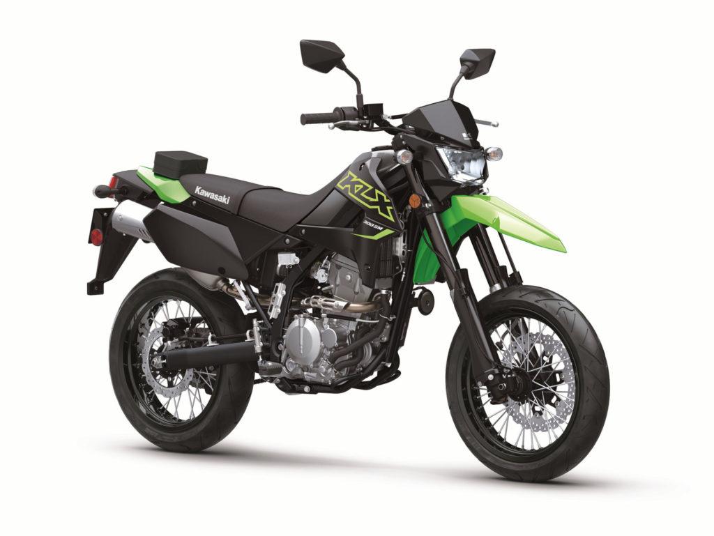 Kawasaki's new 2021-model KLX300SM at rest. Photo courtesy Kawasaki Motors Corp., U.S.A.