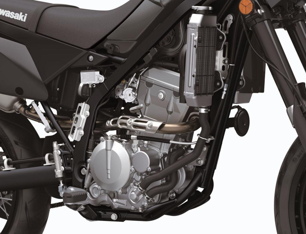 The liquid-cooled, fuel-injected, DOHC, 292cc single-cylinder engine of Kawasaki's new 2021-model KLX300SM. Photo courtesy Kawasaki Motors Corp., U.S.A.