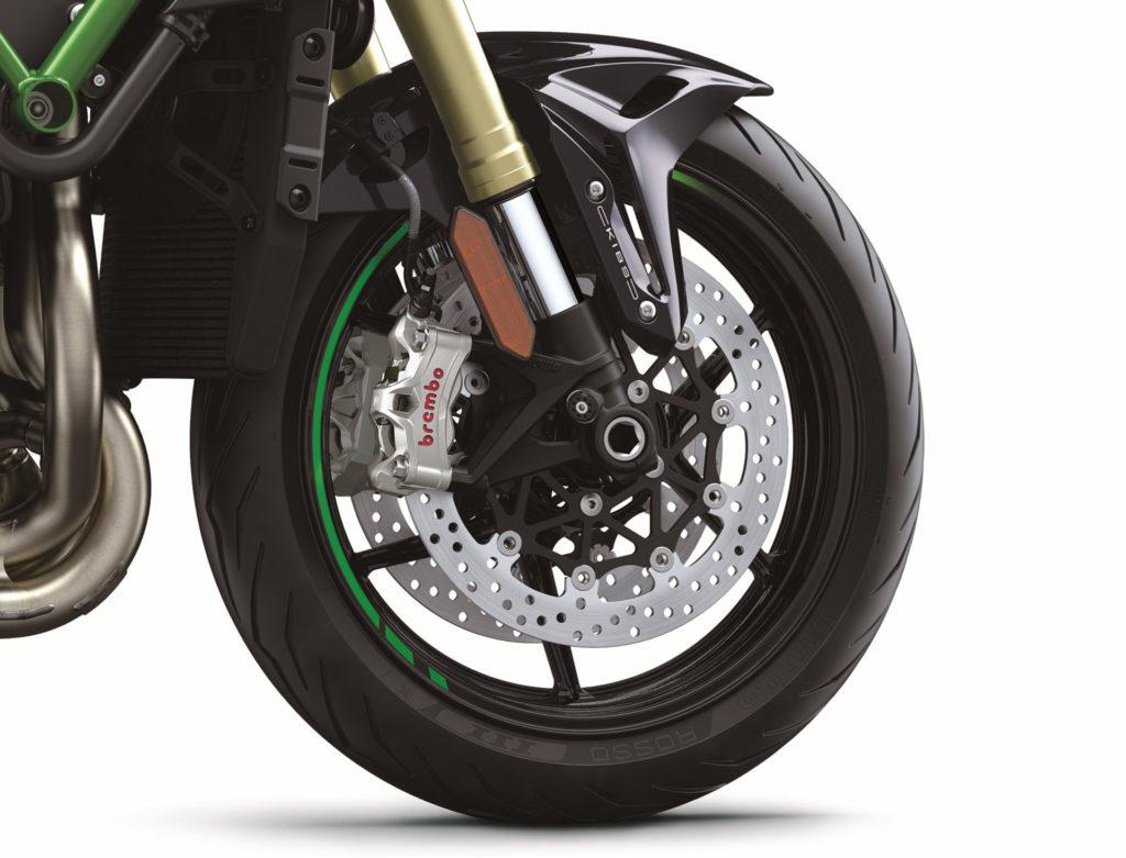 The 2021-model Kawasaki Z H2 SE comes with new Brembo braking components, including new Stylema monoblock front brake calipers. Photo courtesy Kawasaki Motors Corp., U.S.A.