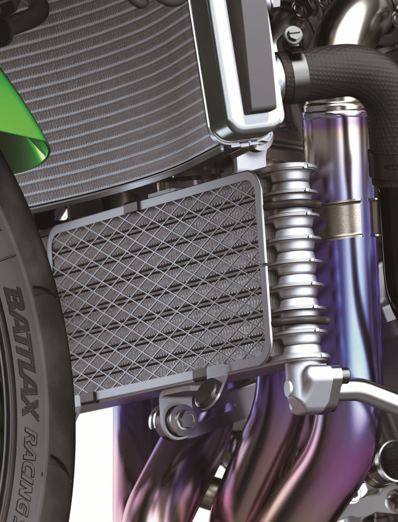 The 2021 Kawasaki ZX-10R comes with a new air-cooled engine oil cooler. Photo courtesy Kawasaki Motors Corp., U.S.A.