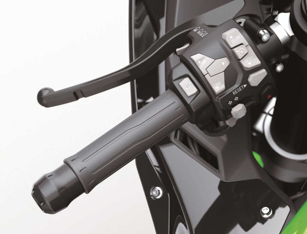Electronic Cruise Control is standard and heated grips are an optional accessory on the 2021 Kawasaki ZX-10R. Photo courtesy Kawasaki Motors Corp., U.S.A.