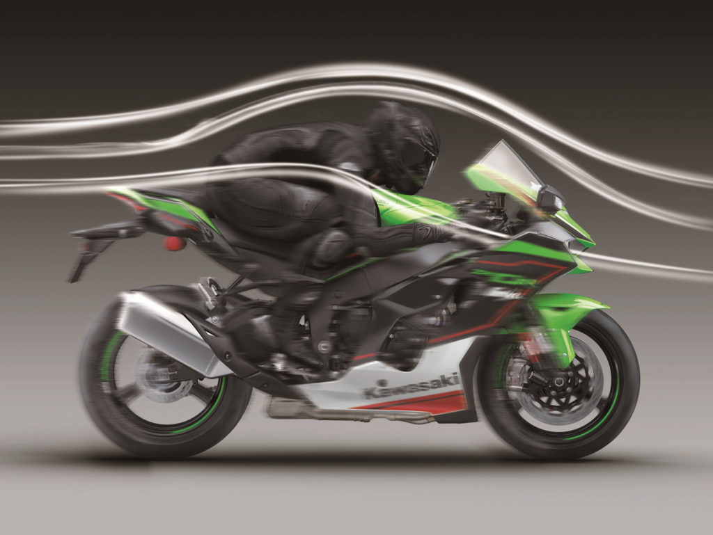 An illustration showing the aerodynamics of a 2021-model Kawasaki ZX-10R KRT Edition. Photo courtesy Kawasaki Motors Corp., U.S.A.