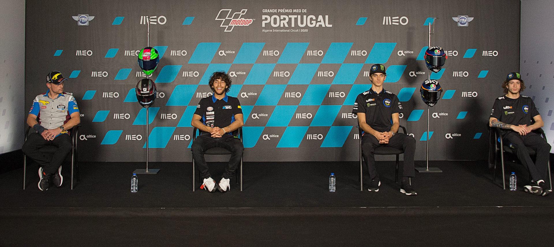 2020 Moto2 World Championship contenders (from left): Sam Lowes, Enea Bastianini, Luca Marini, and Marco Bezzecchi. Photo courtesy Dorna.