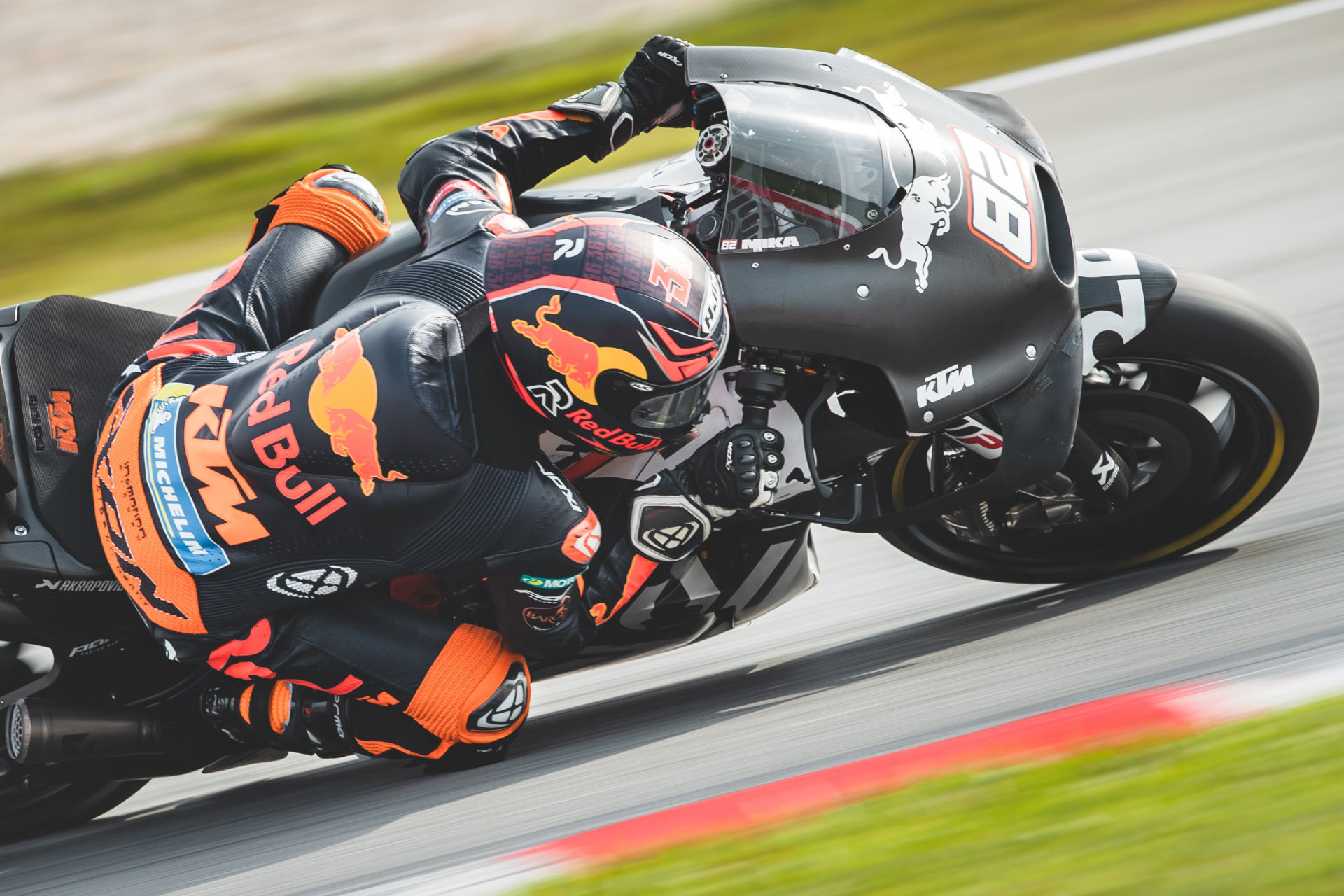 Mika Kallio (82) during the MotoGP pre-season test at Sepang in February 2020. Photo courtesy KTM Factory Racing.