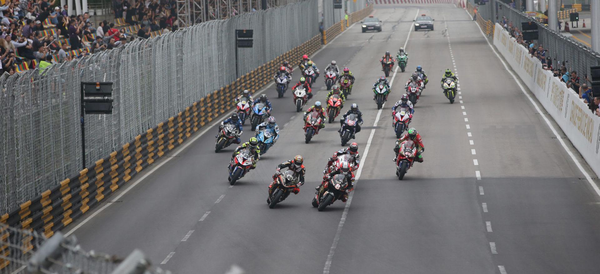 The start of the Macau Motorcycle Grand Prix in 2018. Photo courtesy Macau Grand Prix Committee.