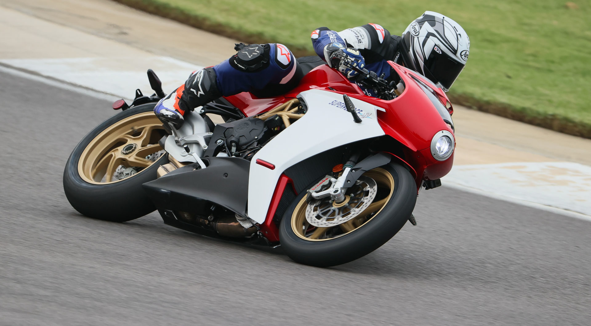 Roadracing World Racing Editor Chris Ulrich test riding a 2021 MV Agusta Superveloce 800 at Barber Motorsports Park. Photo by Brian J. Nelson.