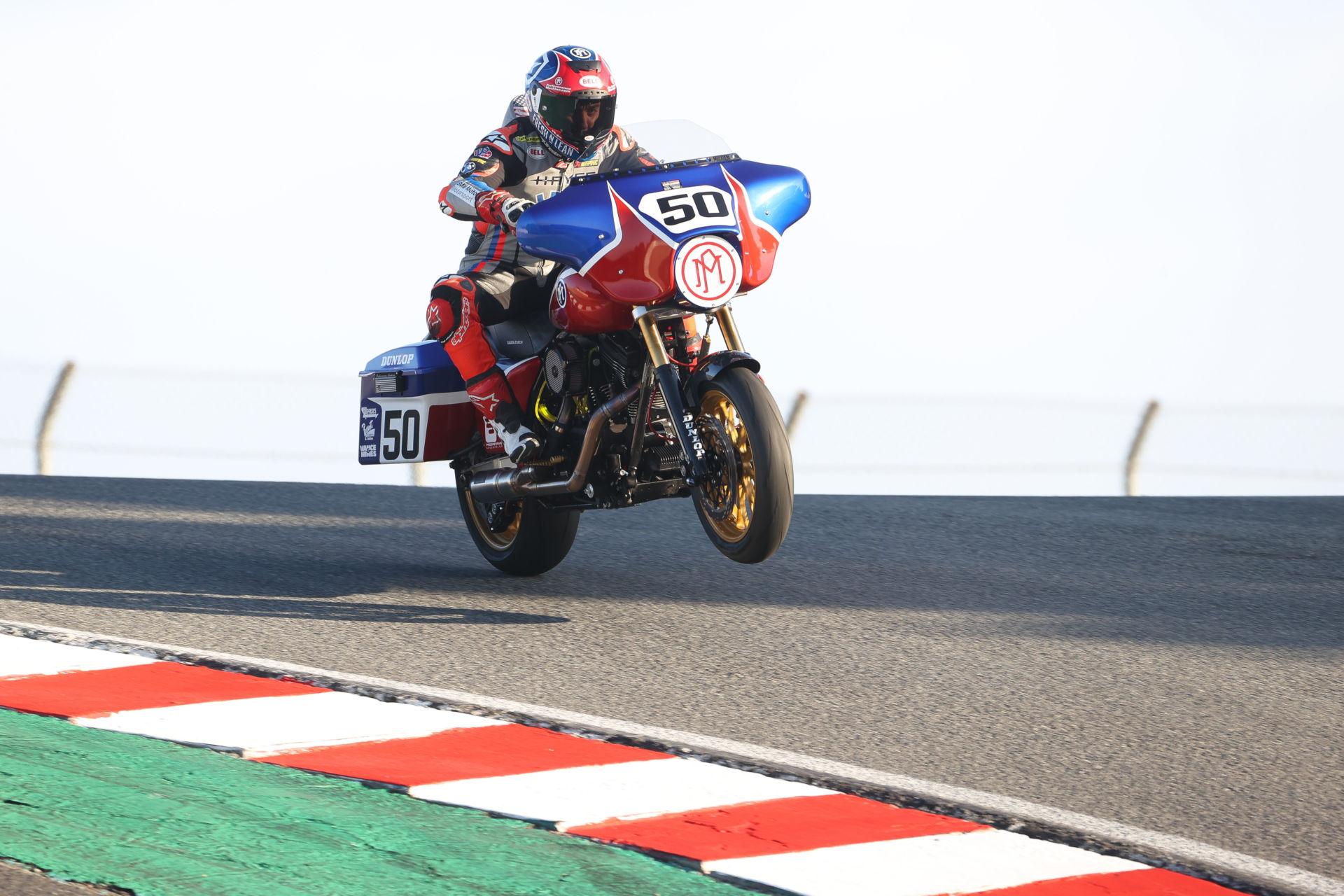 Josh Herrin (50) on his Performance Machine Harley-Davidson Street Glide King of the Baggers racebike at Laguna Seca. Photo by Brian J. Nelson.