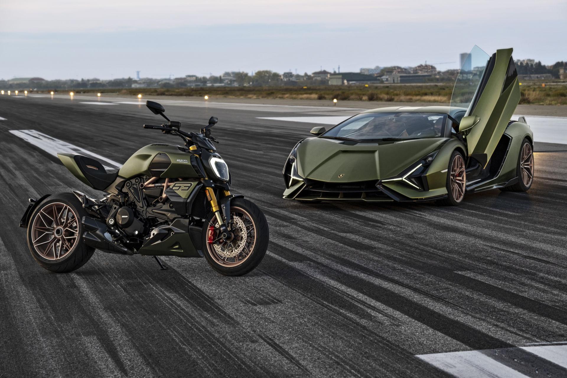 A Ducati Diavel 1260 Lamborghini and a Lamborghini Siàn FKP 37. Photo courtesy Ducati.