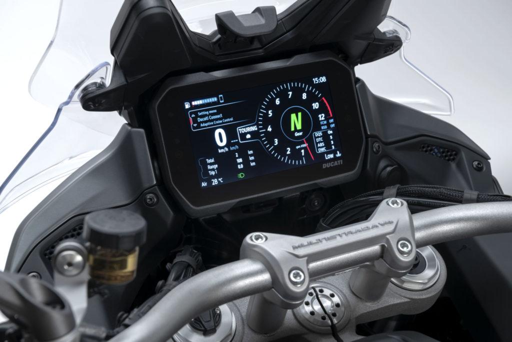The dashboard display on a 2021 Ducati Multistrada V4 S. Photo courtesy Ducati.