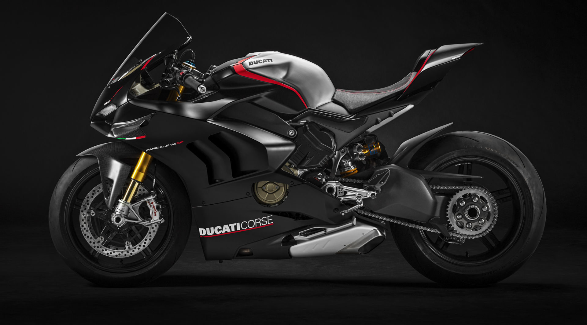 The new 2021 Ducati Panigale V4 SP comes with carbon-fiber wheels, Brembo Stylema R front brake calipers, a Brembo MCS front brake master cylinder, and a dry clutch. Photo courtesy Ducati.