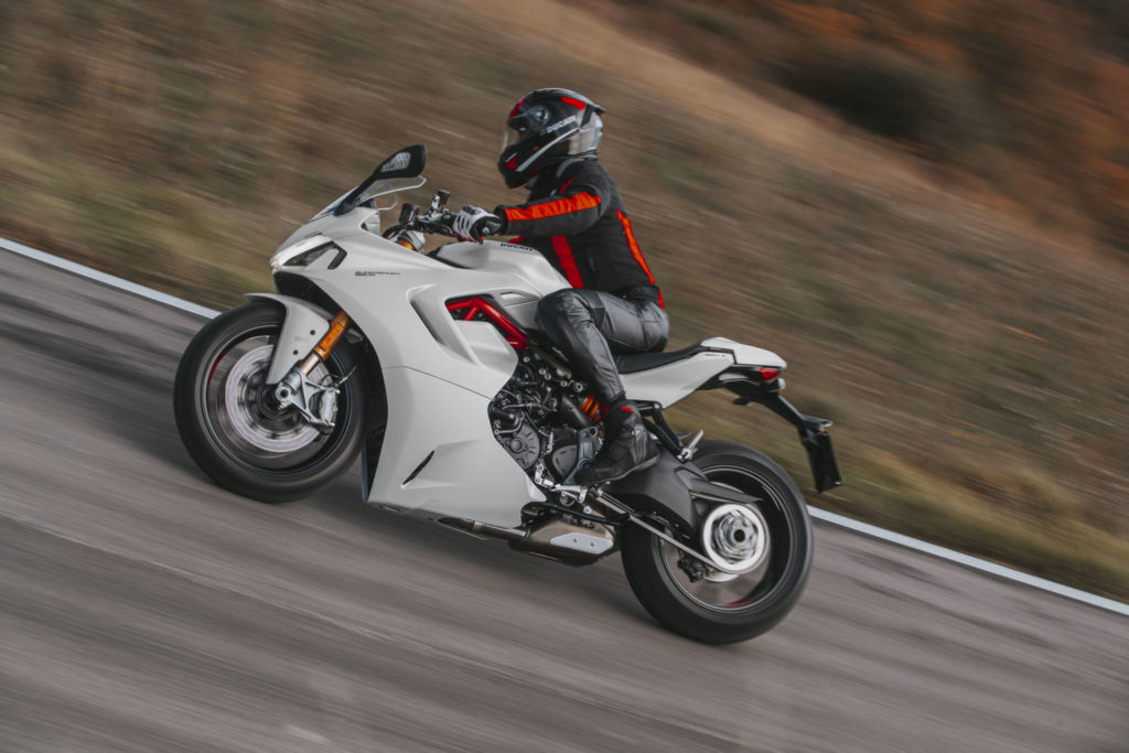 A 2021 Ducati Supersport 950 S at speed. Photo courtesy Ducati.