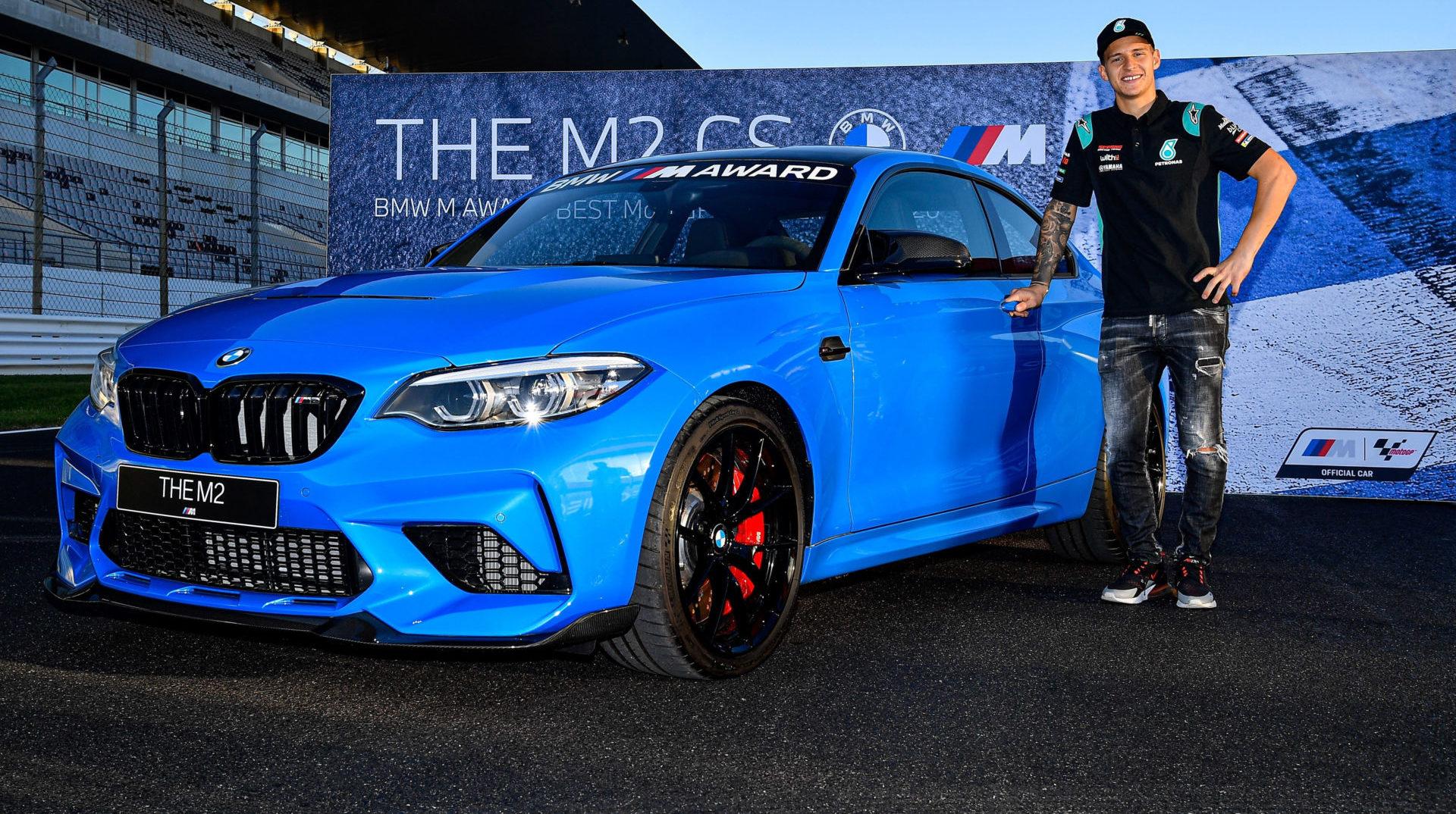 Fabio Quartararo with his new BMW M2 CS. Photo courtesy Dorna.