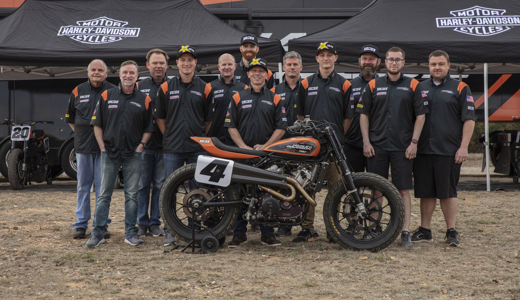 The Vance & Hines Harley-Davidson American Flat Track team. Photo courtesy Harley-Davidson.