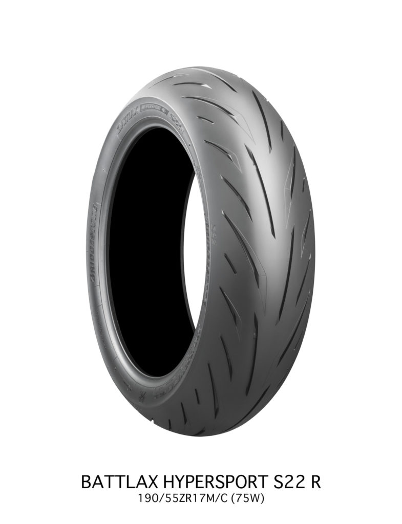 A 180/55-ZR17 Bridgestone BATTLAX Hypersport S22 rear tire.