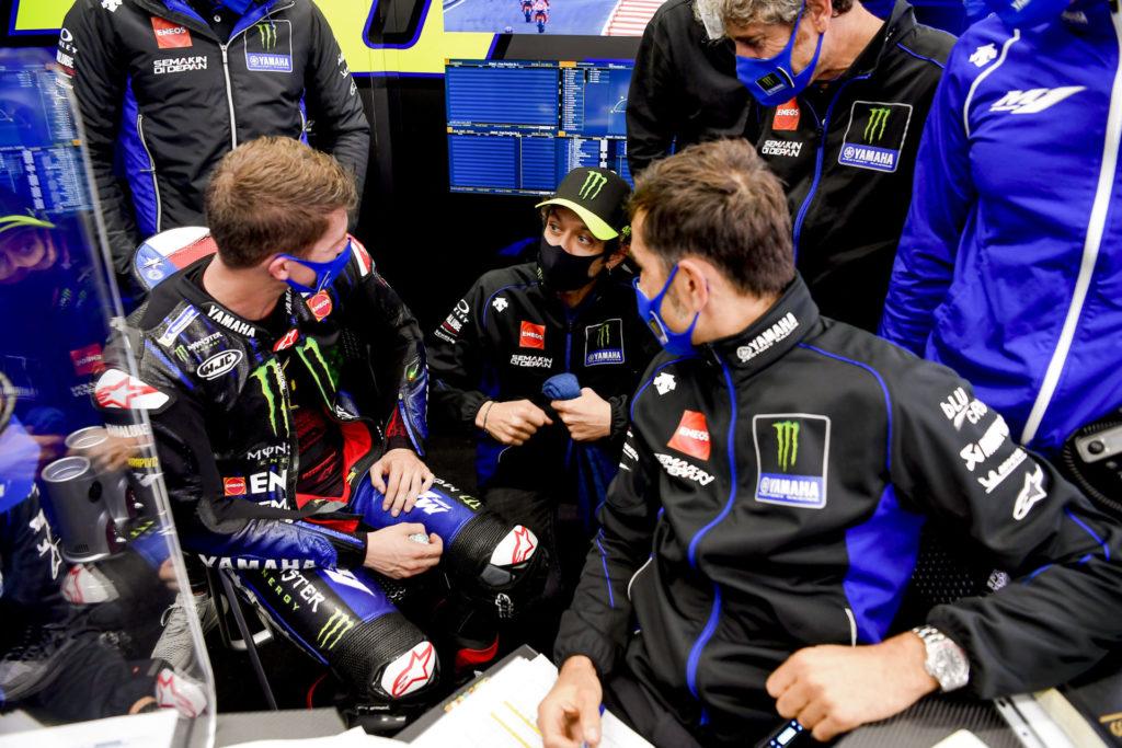 Garrett Gerloff (left) debriefing with Valentino Rossi (center). Photo courtesy Monster Energy Yamaha.