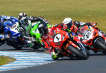 Troy Herfoss (1) leads Mike Jones (46), Matt Walters, and Daniel Falzon (25) during an Australian Superbike race at Phillip Island in 2019. Photo by Russell Colvin, courtesy Penrite Honda.