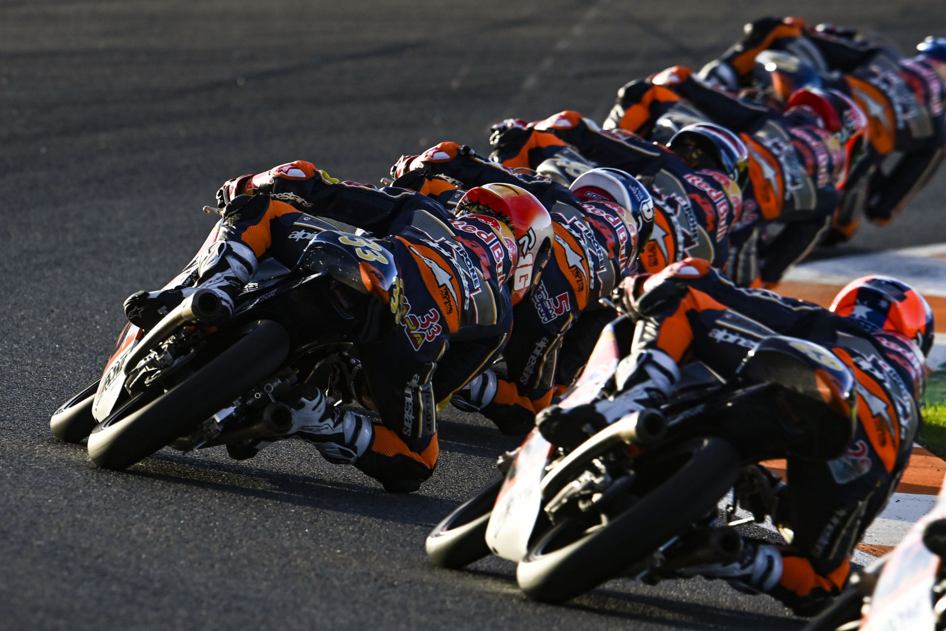 Red Bull MotoGP Rookies in action during Race One at Valencia #1. Photo courtesy Red Bull.